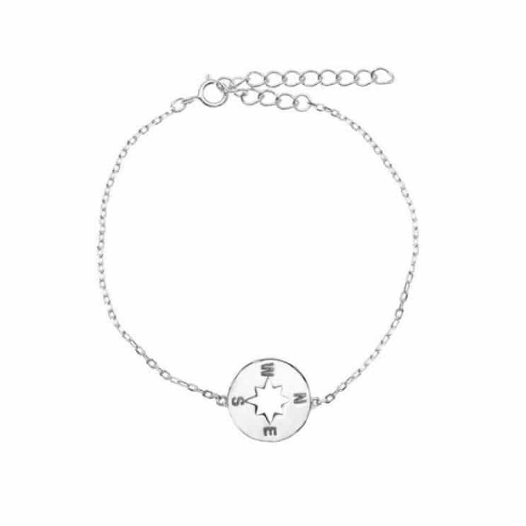 Set de pendientes y colgante de plata de ley 925 bañada en rodio con estrella polar