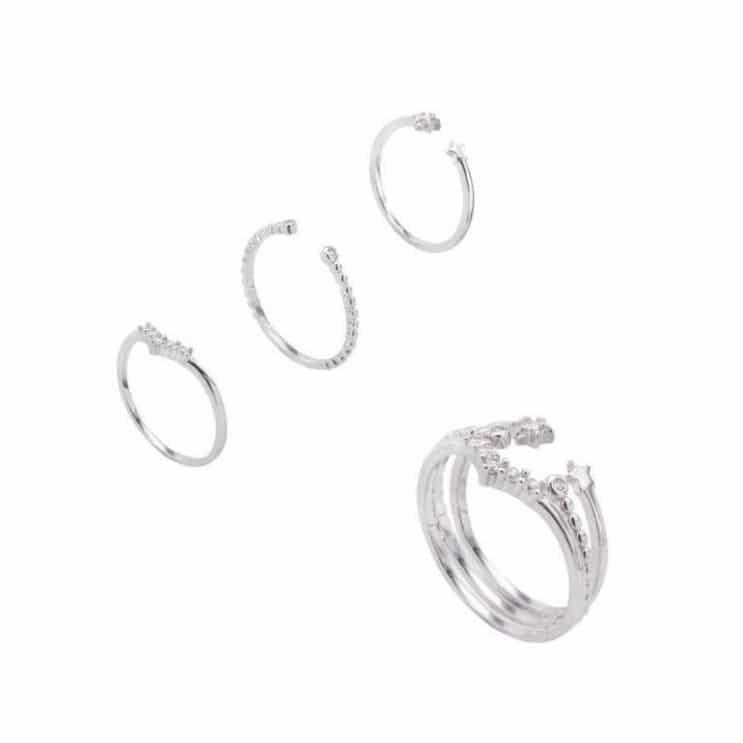 Set de anillos alis de plata de ley 925 bañada en rodio y circonitas blancas