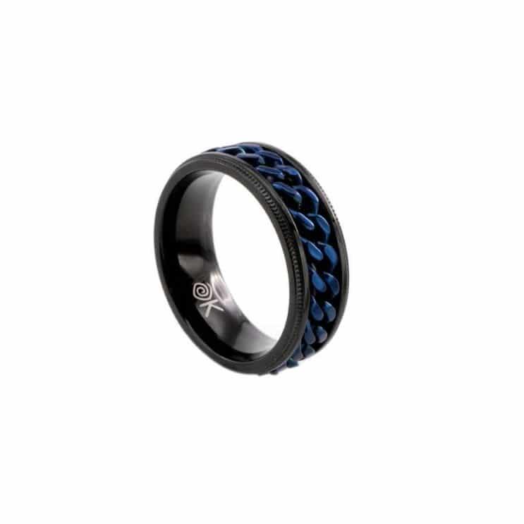 Anillo de hombre de acero inoxidable ip negro e ip azul